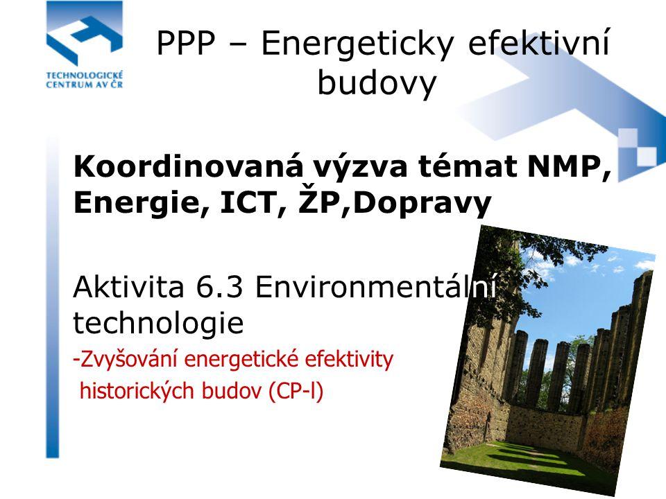 PPP – Energeticky efektivní budovy Koordinovaná výzva témat NMP, Energie, ICT, ŽP,Dopravy Aktivita 6.3 Environmentální technologie -Zvyšování energeti