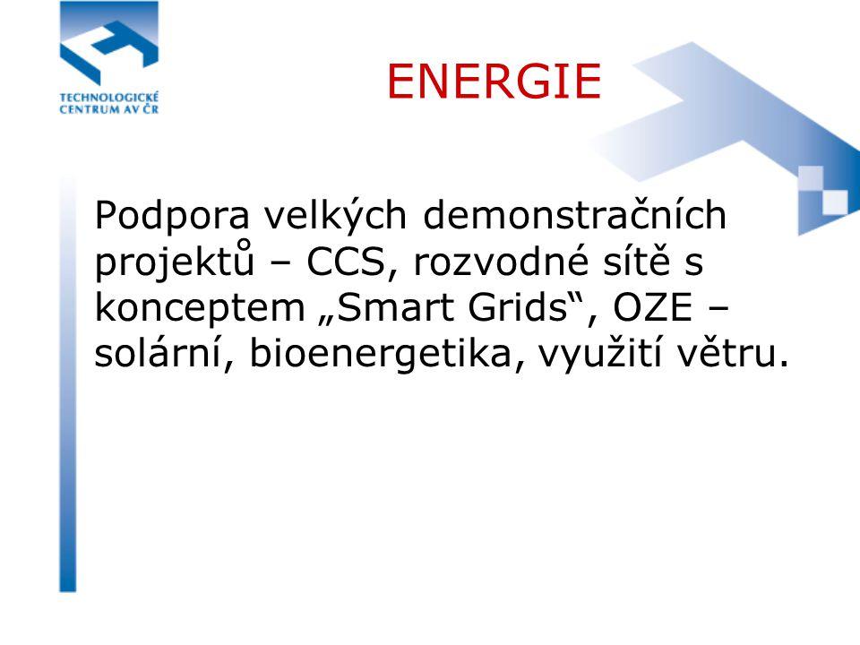 """ENERGIE Podpora velkých demonstračních projektů – CCS, rozvodné sítě s konceptem """"Smart Grids"""", OZE – solární, bioenergetika, využití větru."""
