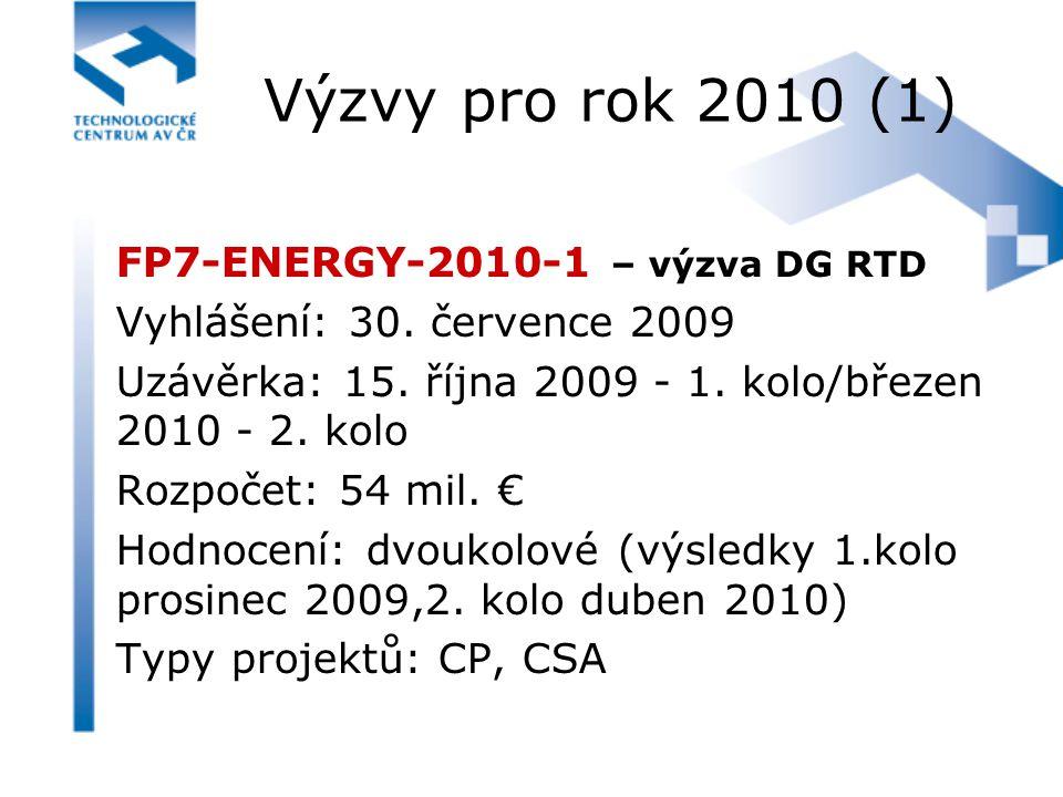 Výzvy pro rok 2010 (1) FP7-ENERGY-2010-1 – výzva DG RTD Vyhlášení: 30. července 2009 Uzávěrka: 15. října 2009 - 1. kolo/březen 2010 - 2. kolo Rozpočet