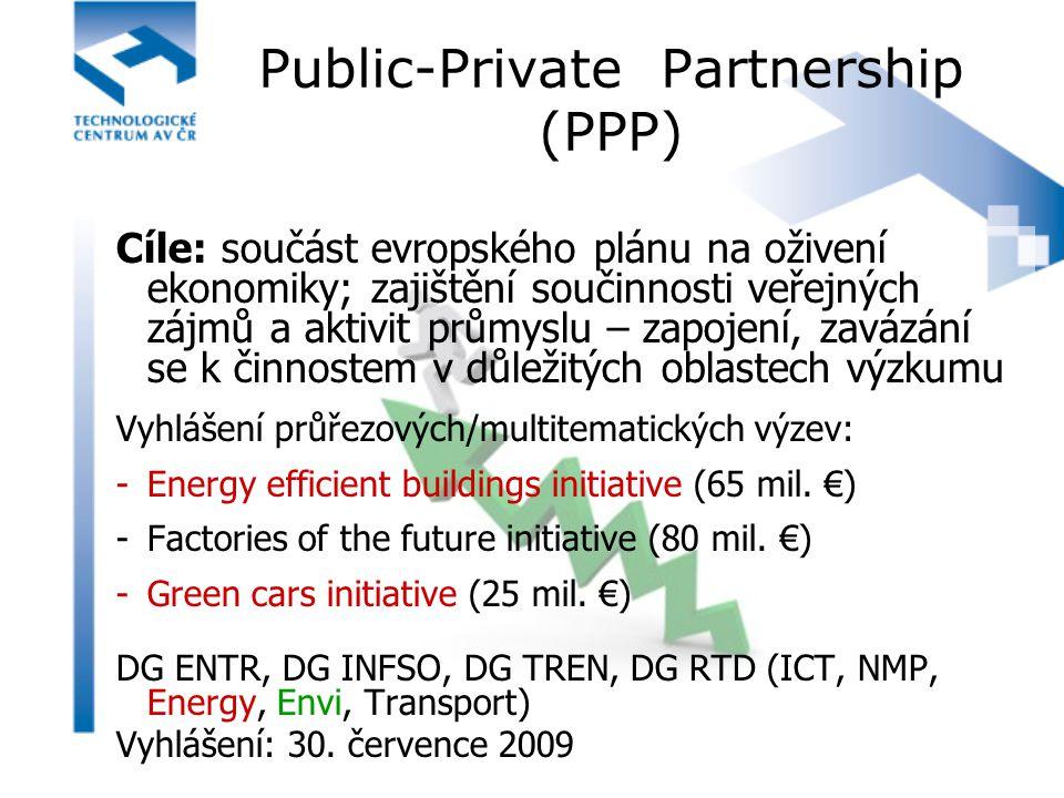 Public-Private Partnership (PPP) Cíle: součást evropského plánu na oživení ekonomiky; zajištění součinnosti veřejných zájmů a aktivit průmyslu – zapoj