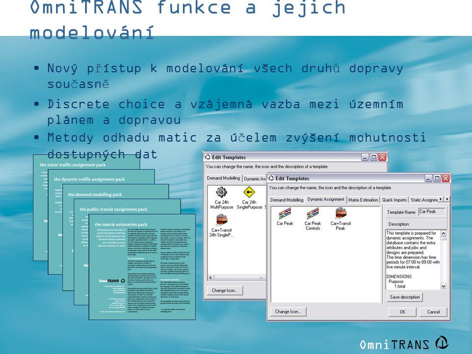 OmniTRANS | OmniTRANS funkce a jejich modelování •Nový přístup k modelování všech druhů dopravy současně •Discrete choice a vzájemná vazba mezi územní