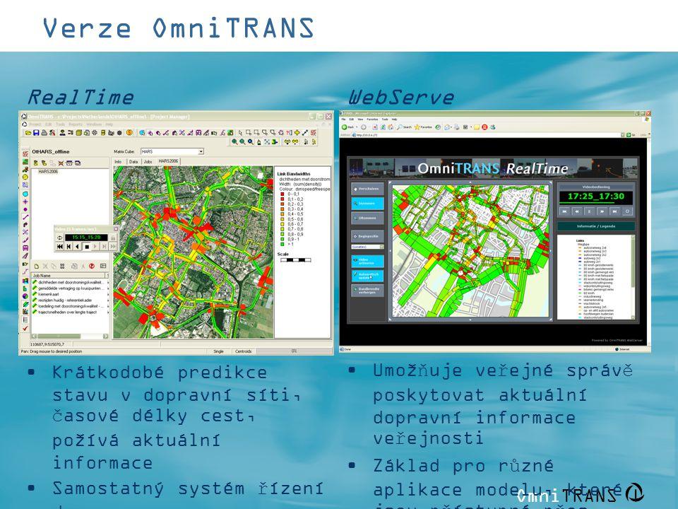 OmniTRANS   Verze OmniTRANS WebServe r RealTime •Krátkodobé predikce stavu v dopravní síti, časové délky cest, požívá aktuální informace •Samostatný s