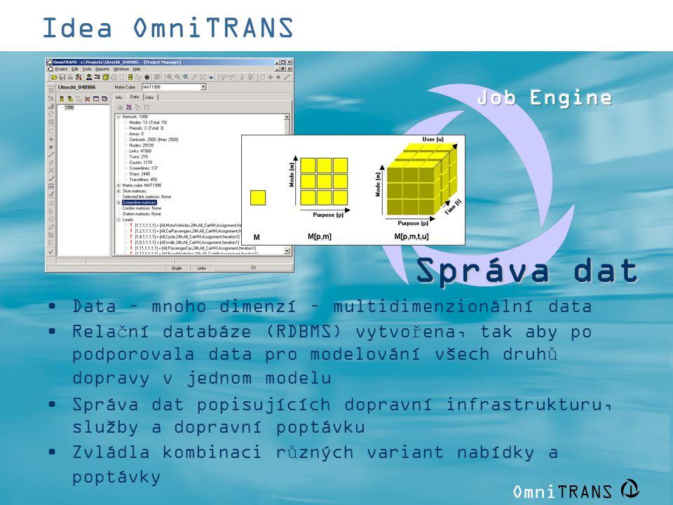 OmniTRANS   Idea OmniTRANS •Data – mnoho dimenzí – multidimenzionální data •Relační databáze (RDBMS) vytvořena, tak aby po podporovala data pro modelo