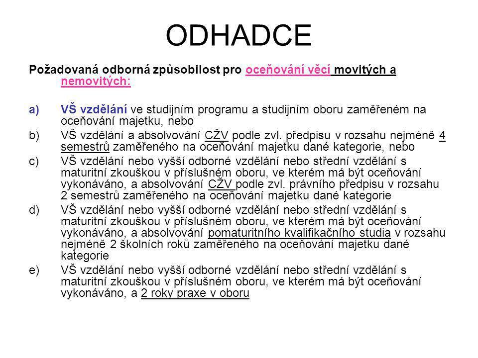 ODHADCE Požadovaná odborná způsobilost pro oceňování věcí movitých a nemovitých: a)VŠ vzdělání ve studijním programu a studijním oboru zaměřeném na oc
