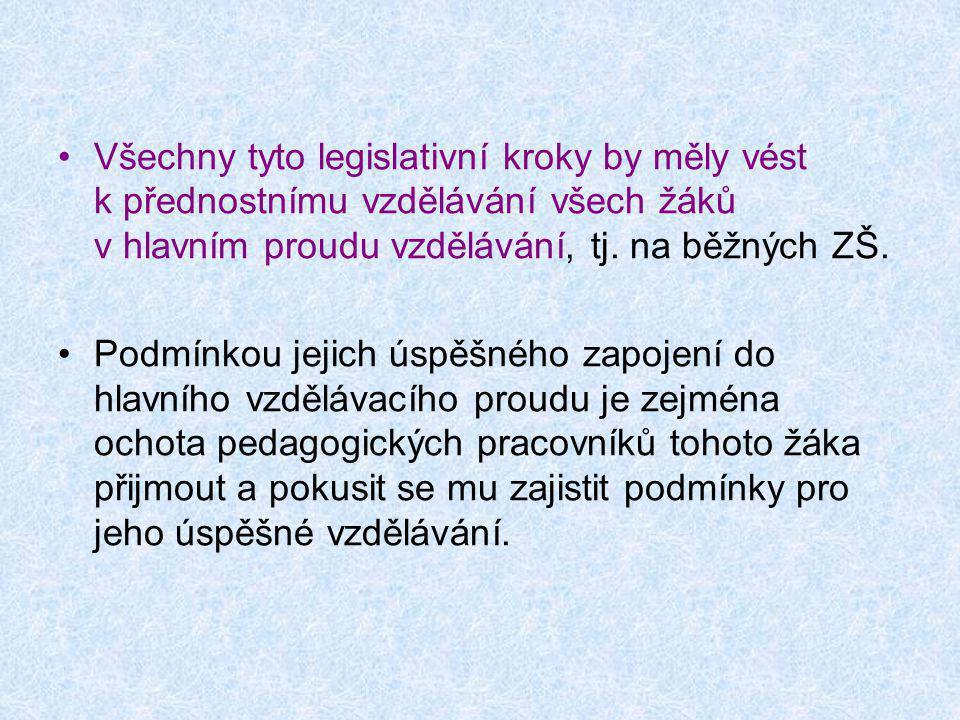 •Všechny tyto legislativní kroky by měly vést k přednostnímu vzdělávání všech žáků v hlavním proudu vzdělávání, tj. na běžných ZŠ. •Podmínkou jejich ú