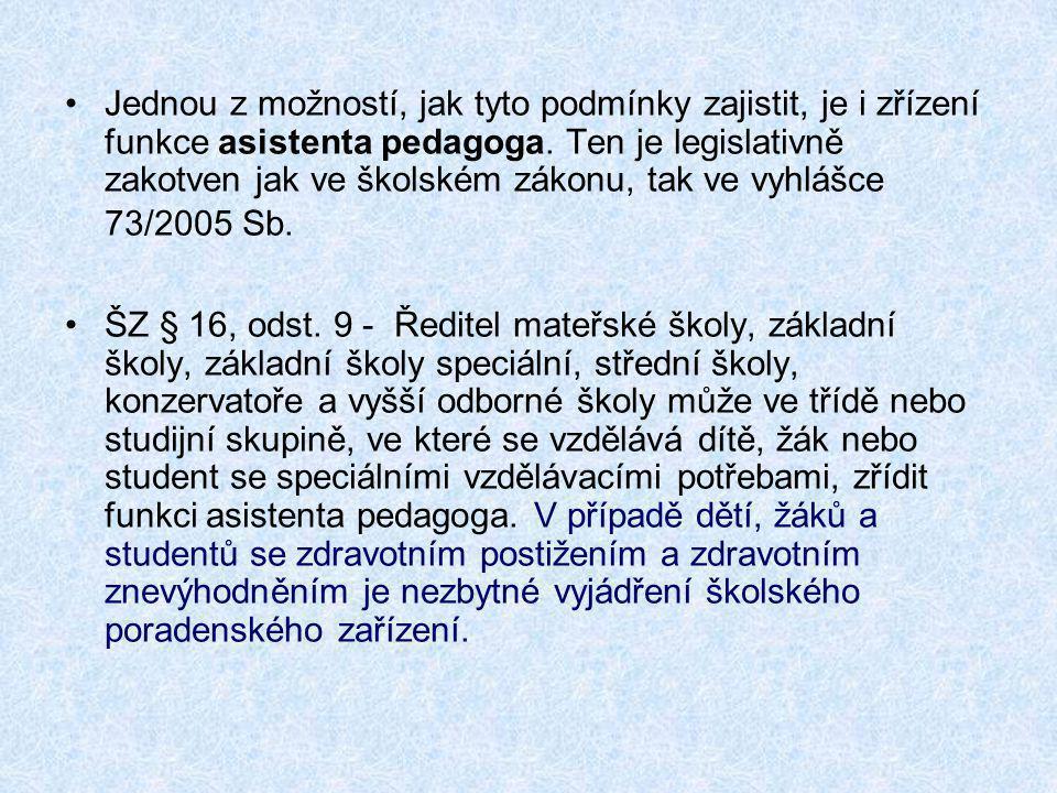 •Jednou z možností, jak tyto podmínky zajistit, je i zřízení funkce asistenta pedagoga. Ten je legislativně zakotven jak ve školském zákonu, tak ve vy