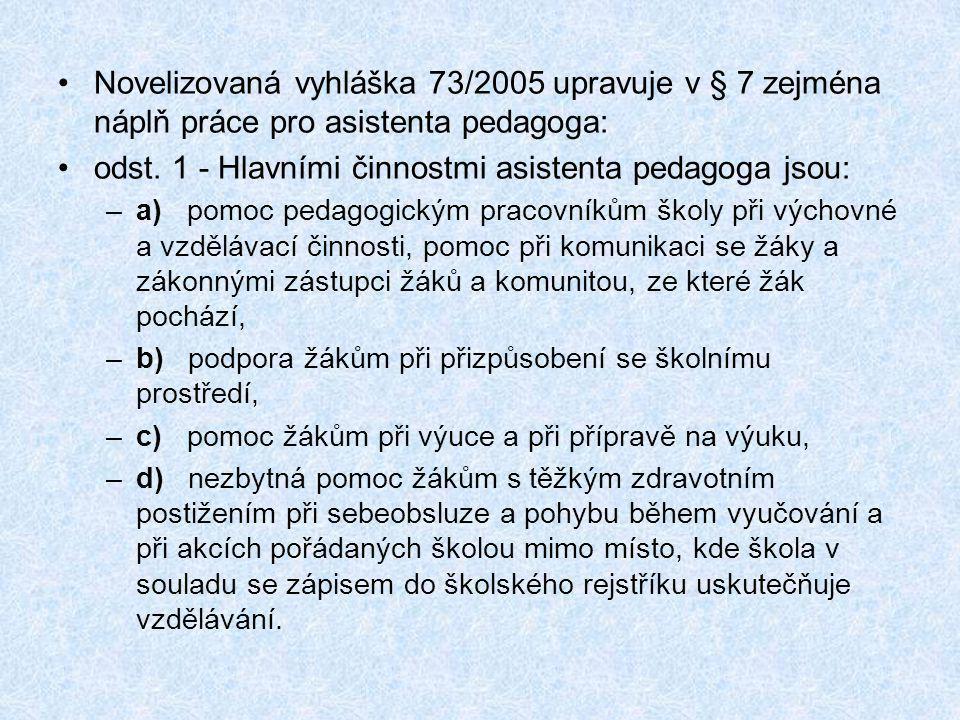 •Novelizovaná vyhláška 73/2005 upravuje v § 7 zejména náplň práce pro asistenta pedagoga: •odst. 1 - Hlavními činnostmi asistenta pedagoga jsou: –a) p