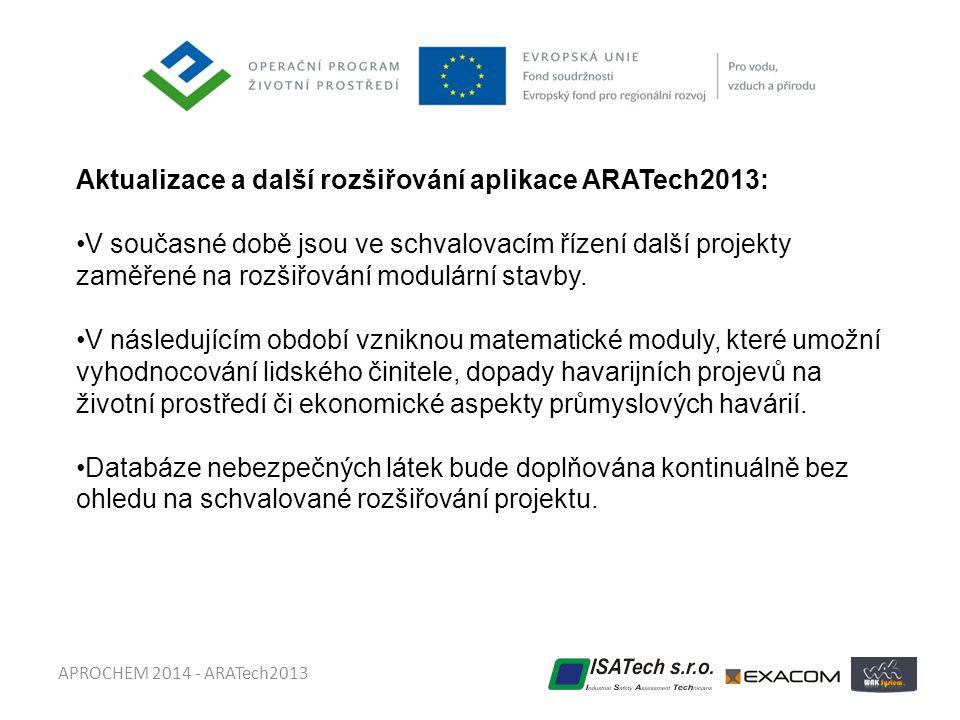 APROCHEM 2014 - ARATech2013 Aktualizace a další rozšiřování aplikace ARATech2013: •V současné době jsou ve schvalovacím řízení další projekty zaměřené na rozšiřování modulární stavby.