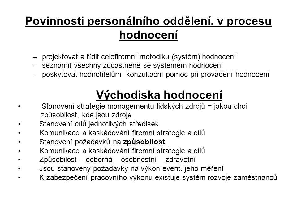 Povinnosti personálního oddělení. v procesu hodnocení –projektovat a řídit celofiremní metodiku (systém) hodnocení –seznámit všechny zúčastněné se sys