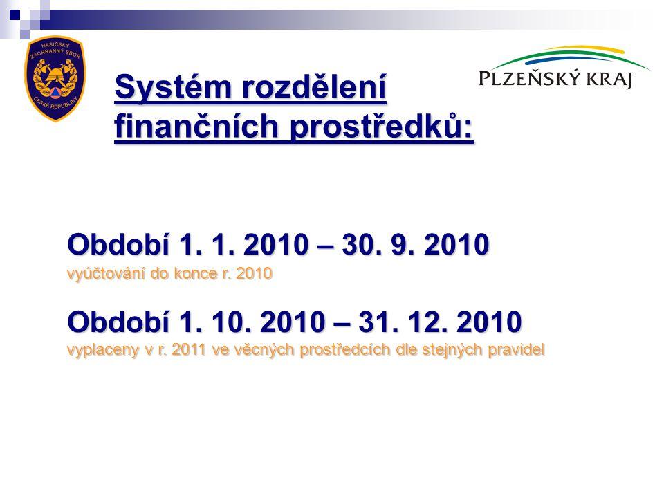 Období 1. 1. 2010 – 30. 9. 2010 vyúčtování do konce r. 2010 Období 1. 10. 2010 – 31. 12. 2010 vyplaceny v r. 2011 ve věcných prostředcích dle stejných