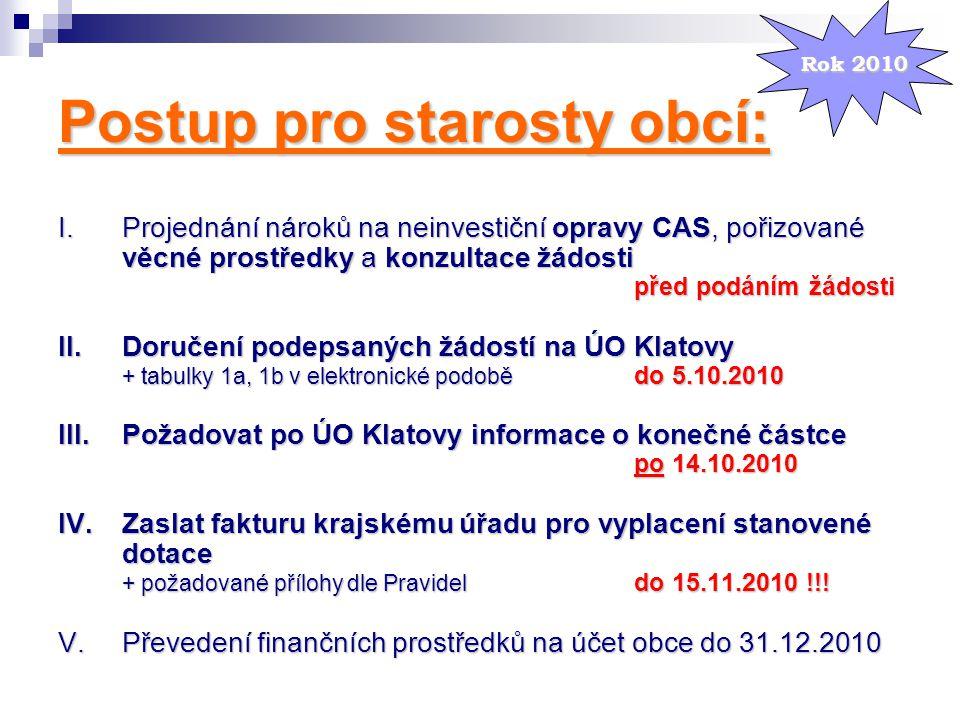 Postup pro starosty obcí: I.Projednání nároků na neinvestiční opravy CAS, pořizované věcné prostředky a konzultace žádosti před podáním žádosti II.Dor