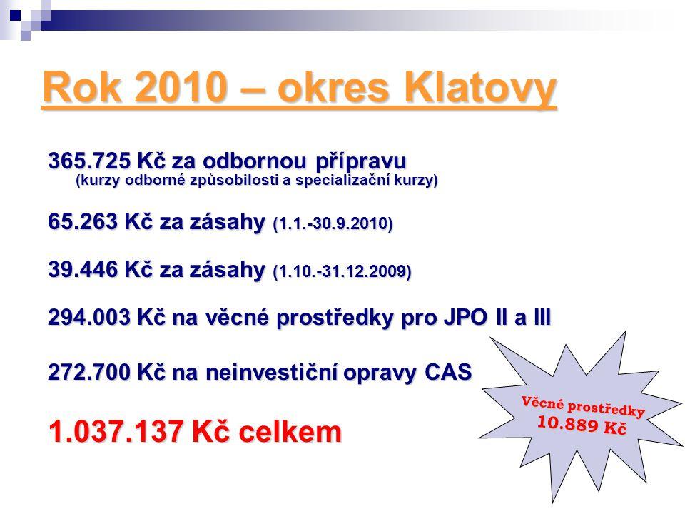 Rok 2010 – okres Klatovy 365.725 Kč za odbornou přípravu (kurzy odborné způsobilosti a specializační kurzy) 65.263 Kč za zásahy (1.1.-30.9.2010) 39.44
