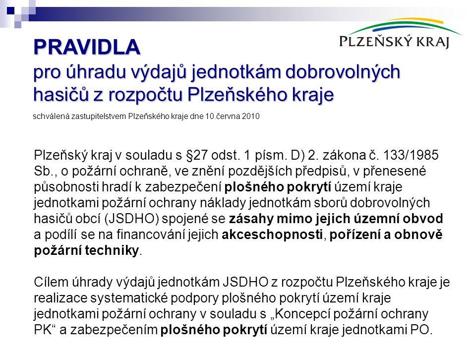 PRAVIDLA pro úhradu výdajů jednotkám dobrovolných hasičů z rozpočtu Plzeňského kraje PRAVIDLA pro úhradu výdajů jednotkám dobrovolných hasičů z rozpoč