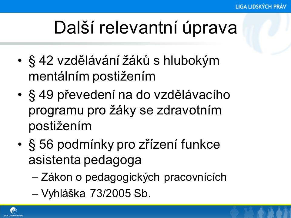 Další relevantní úprava •§ 42 vzdělávání žáků s hlubokým mentálním postižením •§ 49 převedení na do vzdělávacího programu pro žáky se zdravotním posti