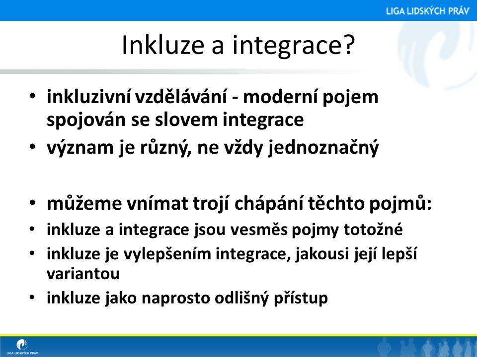Inkluze a integrace? • inkluzivní vzdělávání - moderní pojem spojován se slovem integrace • význam je různý, ne vždy jednoznačný • můžeme vnímat trojí