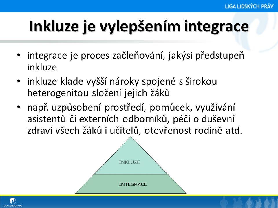 Inkluze je vylepšením integrace • integrace je proces začleňování, jakýsi předstupeň inkluze • inkluze klade vyšší nároky spojené s širokou heterogenitou složení jejich žáků • např.