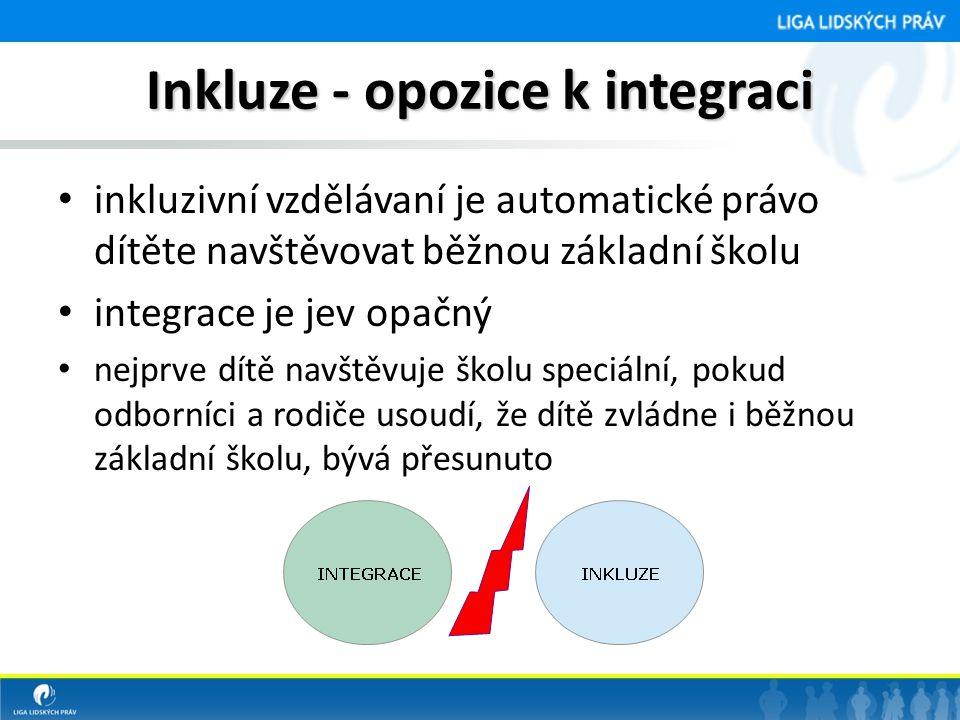 Inkluze - opozice k integraci • inkluzivní vzdělávaní je automatické právo dítěte navštěvovat běžnou základní školu • integrace je jev opačný • nejprv