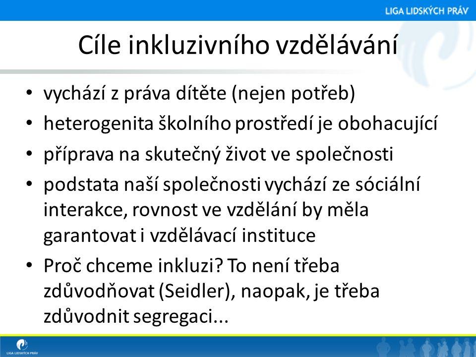 Cíle inkluzivního vzdělávání • vychází z práva dítěte (nejen potřeb) • heterogenita školního prostředí je obohacující • příprava na skutečný život ve