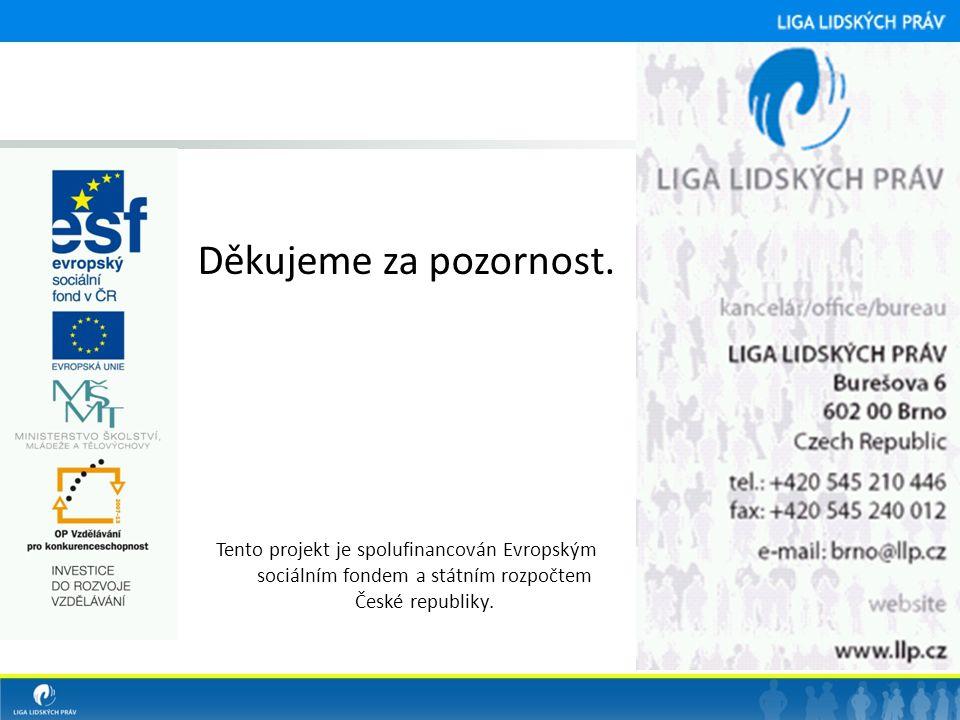 Děkujeme za pozornost. Tento projekt je spolufinancován Evropským sociálním fondem a státním rozpočtem České republiky.