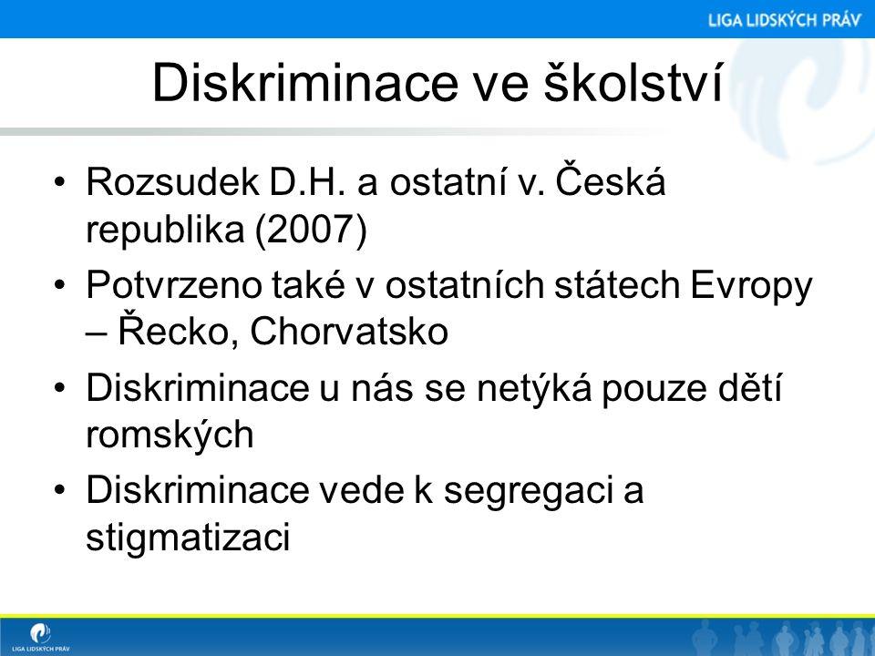 Diskriminace ve školství •Rozsudek D.H. a ostatní v. Česká republika (2007) •Potvrzeno také v ostatních státech Evropy – Řecko, Chorvatsko •Diskrimina