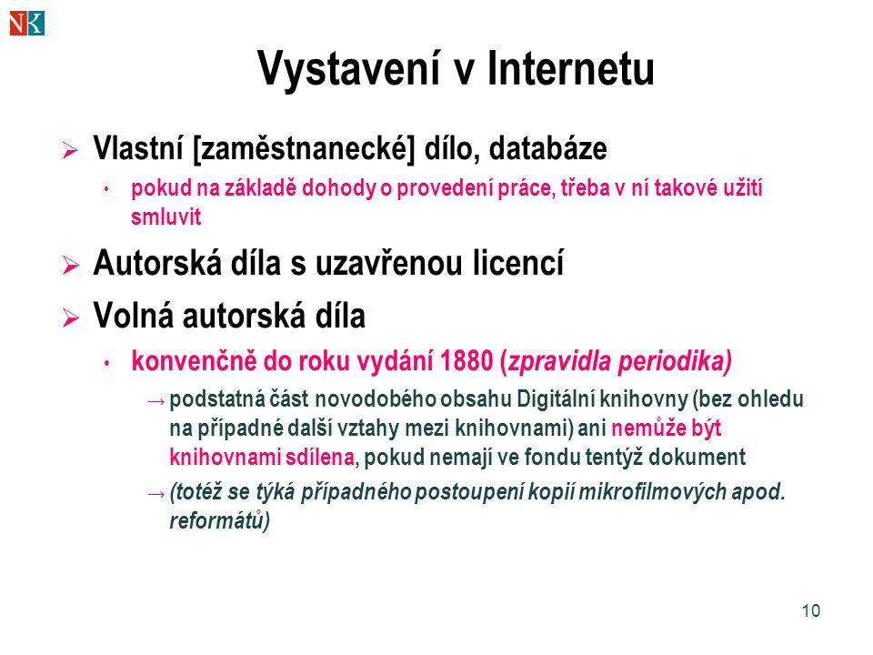 10 Vystavení v Internetu  Vlastní [zaměstnanecké] dílo, databáze • pokud na základě dohody o provedení práce, třeba v ní takové užití smluvit  Autorská díla s uzavřenou licencí  Volná autorská díla • konvenčně do roku vydání 1880 ( zpravidla periodika) → podstatná část novodobého obsahu Digitální knihovny (bez ohledu na případné další vztahy mezi knihovnami) ani nemůže být knihovnami sdílena, pokud nemají ve fondu tentýž dokument → (totéž se týká případného postoupení kopií mikrofilmových apod.