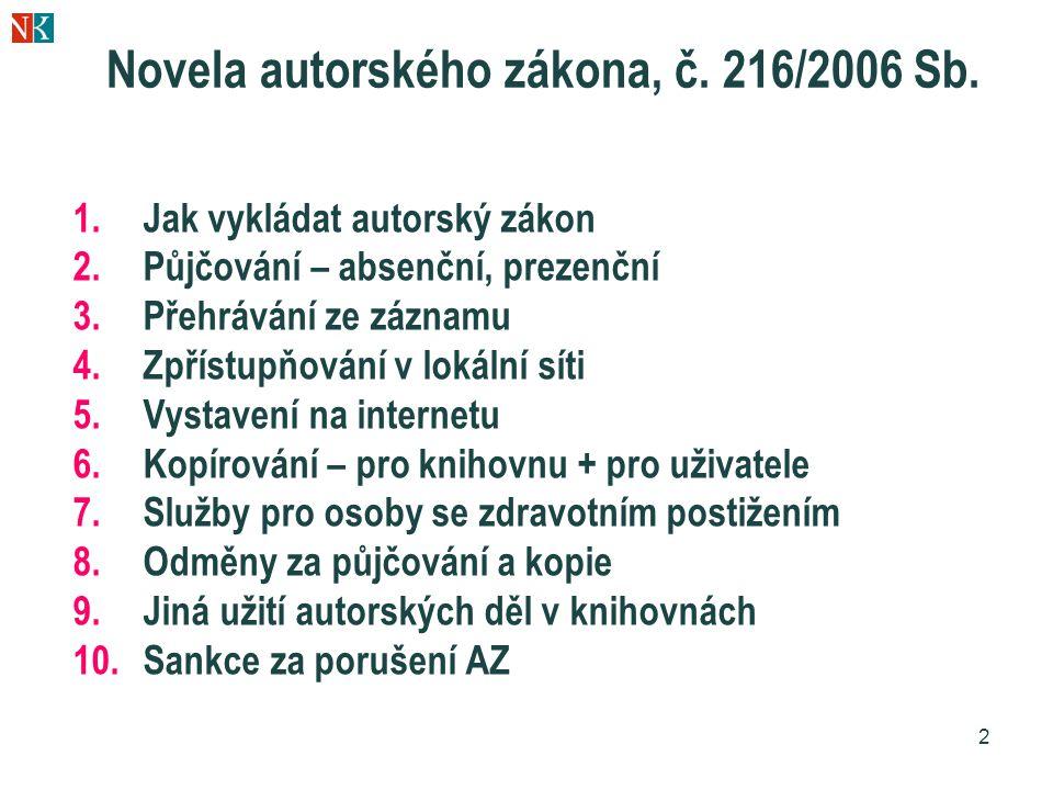 2 Novela autorského zákona, č. 216/2006 Sb. 1.Jak vykládat autorský zákon 2.Půjčování – absenční, prezenční 3.Přehrávání ze záznamu 4.Zpřístupňování v