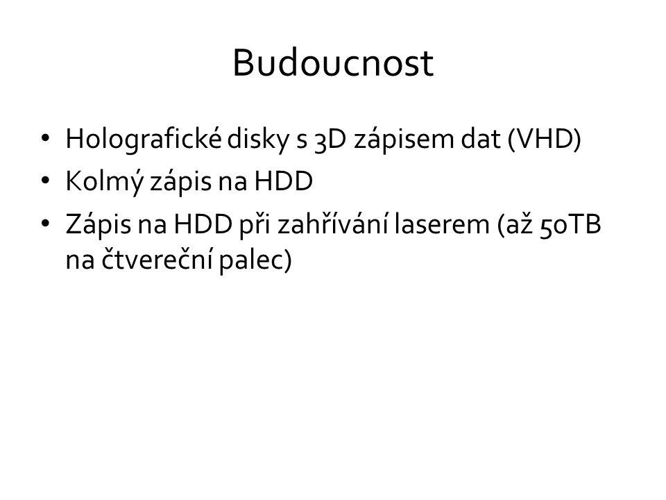 Budoucnost • Holografické disky s 3D zápisem dat (VHD) • Kolmý zápis na HDD • Zápis na HDD při zahřívání laserem (až 50TB na čtvereční palec)
