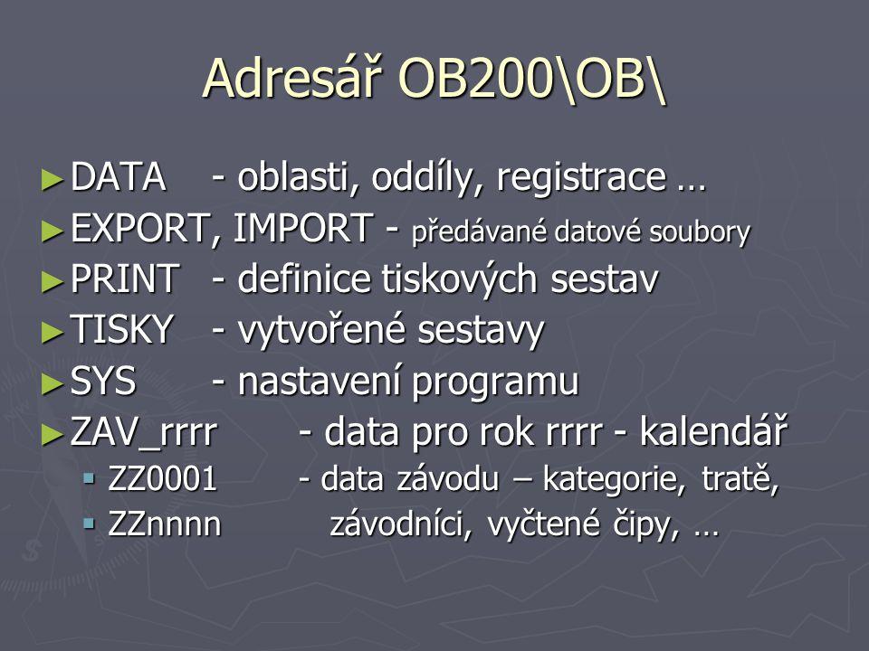 Adresář OB200\OB\ ► DATA- oblasti, oddíly, registrace … ► EXPORT, IMPORT- předávané datové soubory ► PRINT- definice tiskových sestav ► TISKY- vytvoře