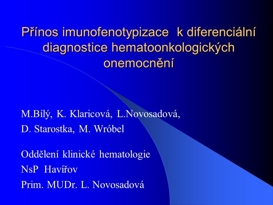 Přínos imunofenotypizace k diferenciální diagnostice hematoonkologických onemocnění M.Bílý, K. Klaricová, L.Novosadová, D. Starostka, M. Wróbel Odděle