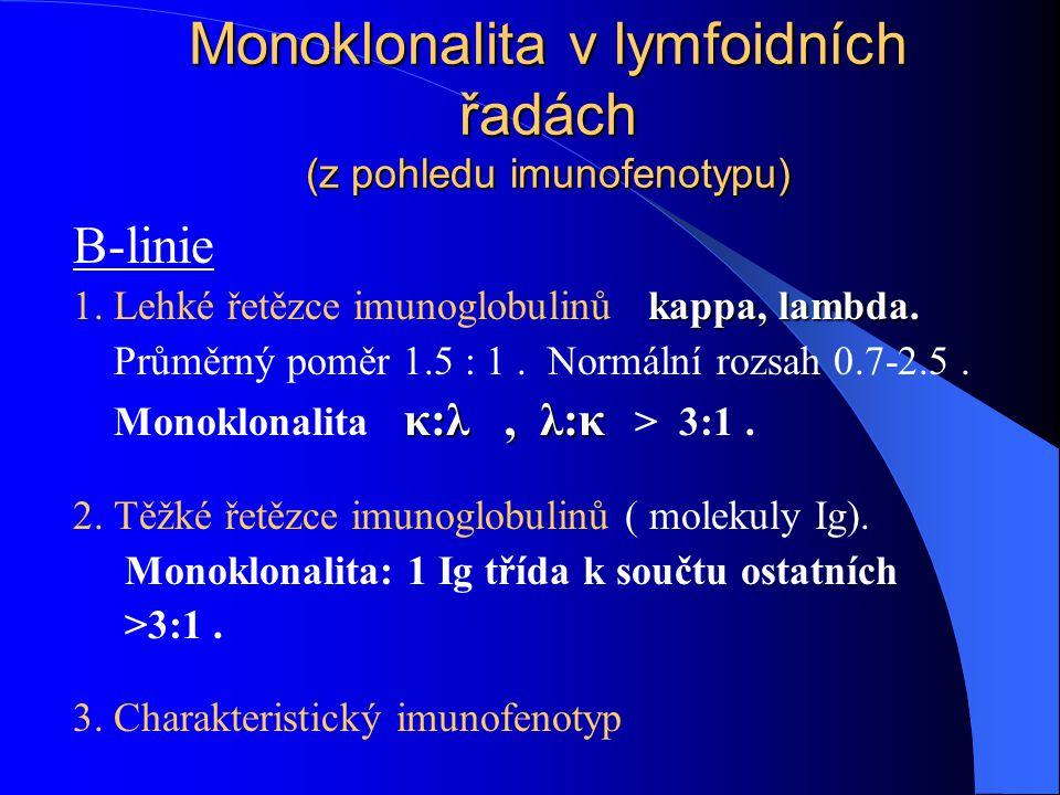 Monoklonalita v lymfoidních řadách (z pohledu imunofenotypu) B-linie kappa, lambda. 1. Lehké řetězce imunoglobulinů kappa, lambda. Průměrný poměr 1.5