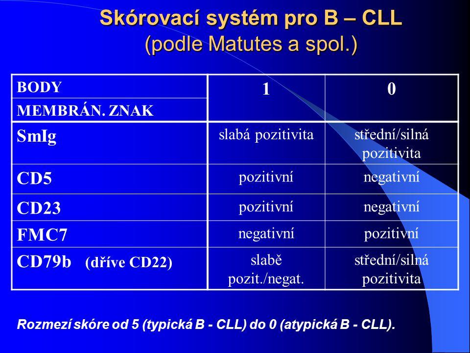 Skórovací systém pro B – CLL (podle Matutes a spol.) BODY 10 MEMBRÁN. ZNAK SmIg slabá pozitivitastřední/silná pozitivita CD5 pozitivnínegativní CD23 p