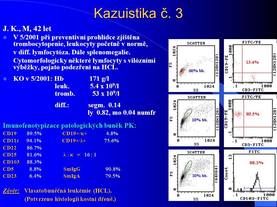 Kazuistika č. 3 J. K., M, 42 let  V 5/2001 při preventivní prohlídce zjištěna trombocytopenie, leukocyty početně v normě, v diff. lymfocytóza. Dále s