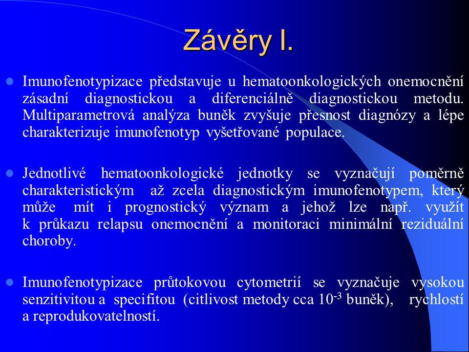 Závěry I.  Imunofenotypizace představuje u hematoonkologických onemocnění zásadní diagnostickou a diferenciálně diagnostickou metodu. Multiparametrov