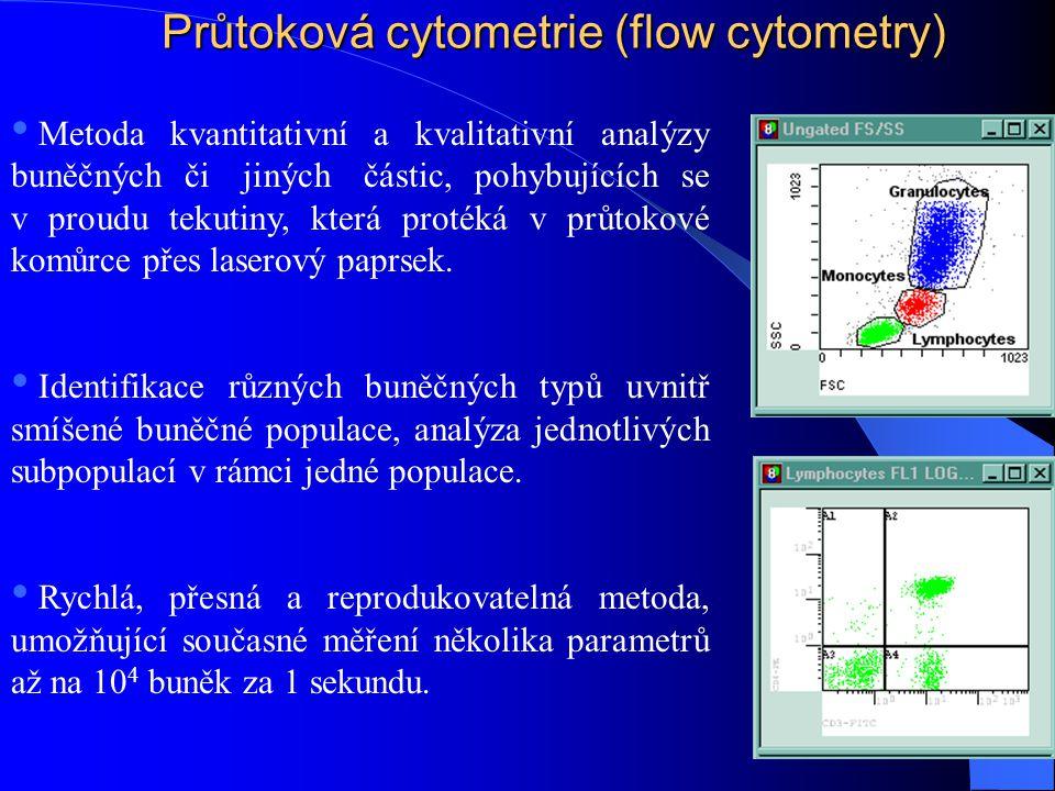 Průtoková cytometrie (flow cytometry) • Metoda kvantitativní a kvalitativní analýzy buněčných či jiných částic, pohybujících se v proudu tekutiny, kte