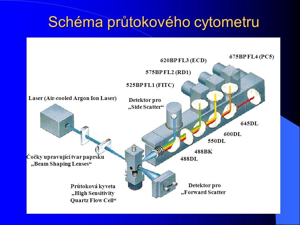 """Schéma průtokového cytometru Laser (Air-cooled Argon Ion Laser) Čočky upravující tvar paprsku """"Beam Shaping Lenses"""" Průtoková kyveta """"High Sensitivity"""