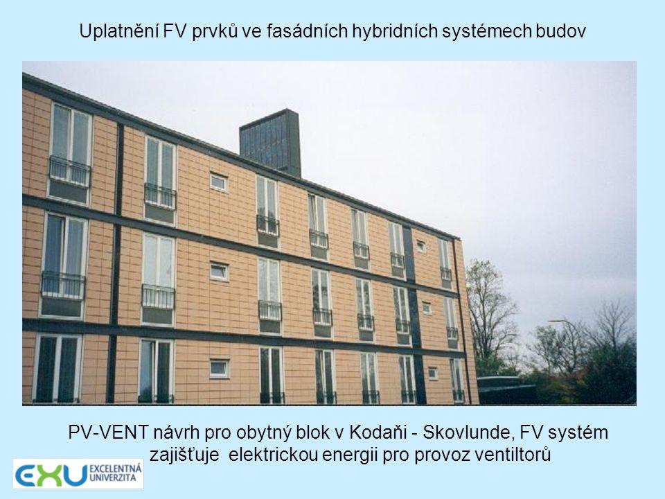 Uplatnění FV prvků ve fasádních hybridních systémech budov PV-VENT návrh pro obytný blok v Kodaňi - Skovlunde, FV systém zajišťuje elektrickou energii