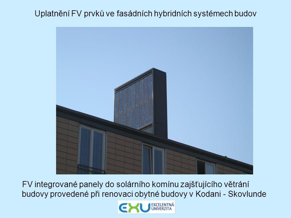 Uplatnění FV prvků ve fasádních hybridních systémech budov FV integrované panely do solárního komínu zajšťujícího větrání budovy provedené při renovac