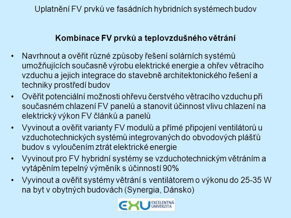 Uplatnění FV prvků ve fasádních hybridních systémech budov Kombinace FV prvků a teplovzdušného větrání •Navrhnout a ověřit různé způsoby řešení solárn