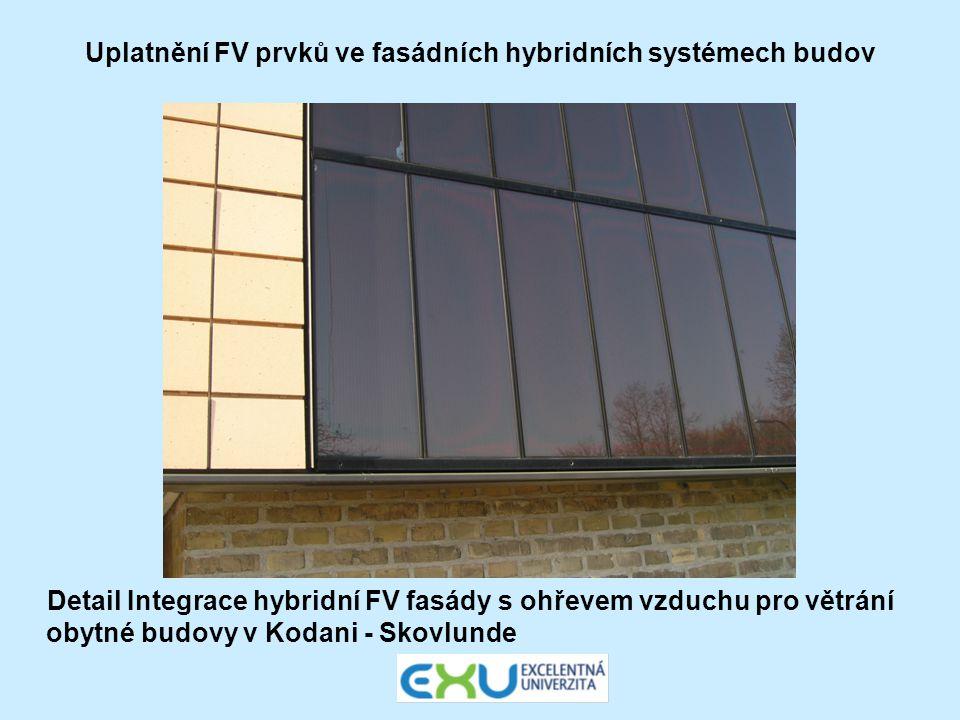 Uplatnění FV prvků ve fasádních hybridních systémech budov Detail Integrace hybridní FV fasády s ohřevem vzduchu pro větrání obytné budovy v Kodani -