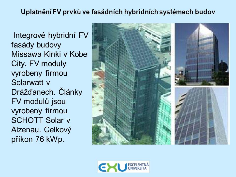 Uplatnění FV prvků ve fasádních hybridních systémech budov Integrové hybridní FV fasády budovy Missawa Kinki v Kobe City. FV moduly vyrobeny firmou So