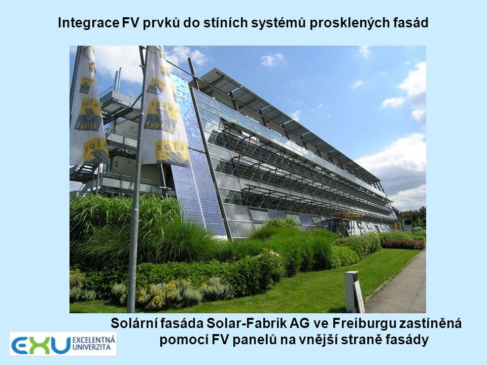 Integrace FV prvků do stíních systémů prosklených fasád Solární fasáda Solar-Fabrik AG ve Freiburgu zastíněná pomocí FV panelů na vnější straně fasády