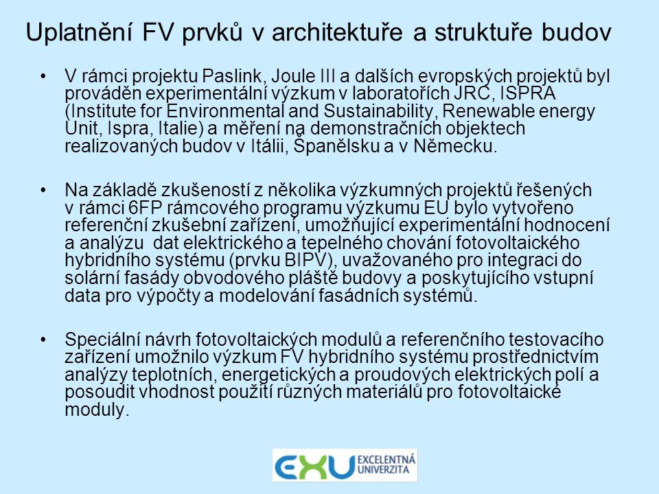 Uplatnění FV prvků v architektuře a struktuře budov •V rámci projektu Paslink, Joule III a dalších evropských projektů byl prováděn experimentální výz