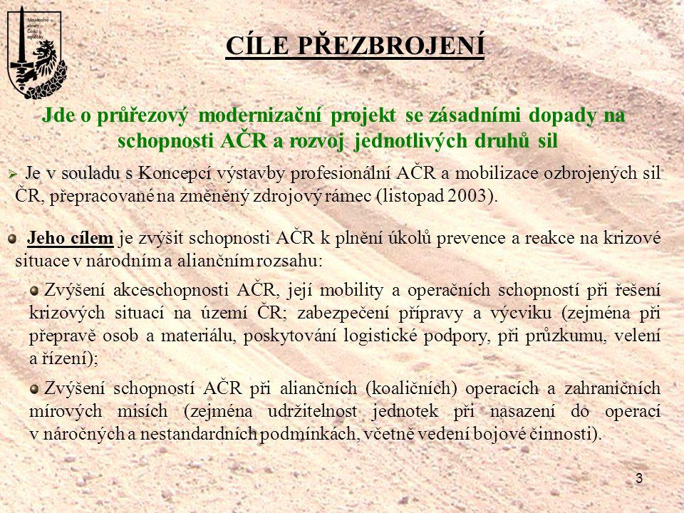 3 CÍLE PŘEZBROJENÍ J Jde o průřezový modernizační projekt se zásadními dopady na schopnosti AČR a rozvoj jednotlivých druhů sil  Je v souladu s  Je