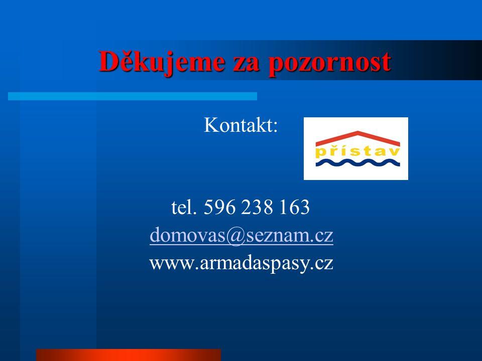 Děkujeme za pozornost Děkujeme za pozornost Kontakt: tel. 596 238 163 domovas@seznam.cz www.armadaspasy.cz