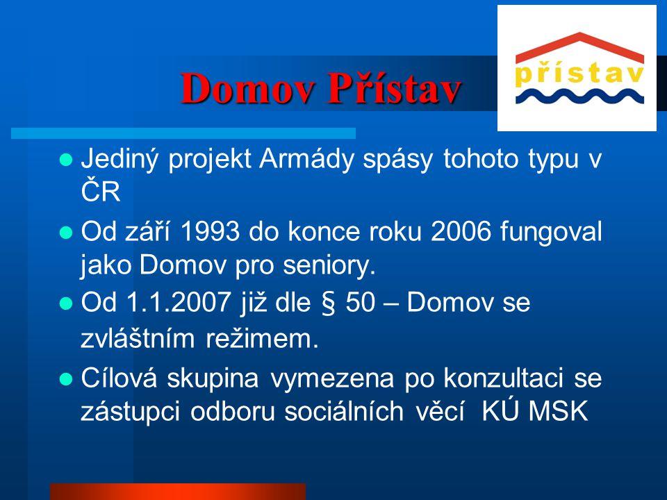 Domov Přístav  Jediný projekt Armády spásy tohoto typu v ČR  Od září 1993 do konce roku 2006 fungoval jako Domov pro seniory.  Od 1.1.2007 již dle