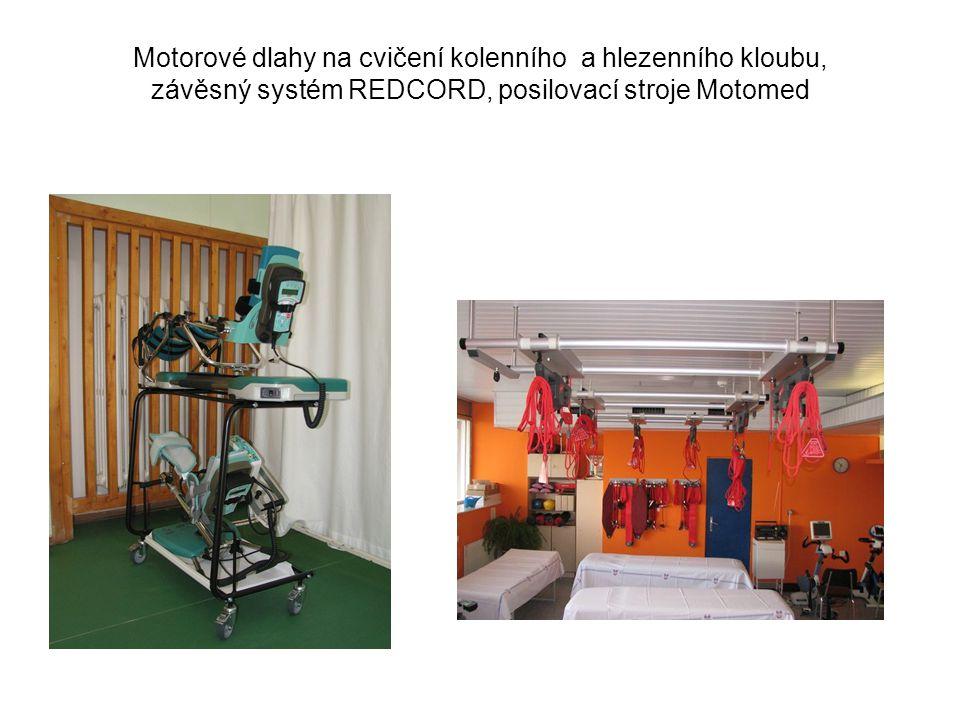 Motorové dlahy na cvičení kolenního a hlezenního kloubu, závěsný systém REDCORD, posilovací stroje Motomed