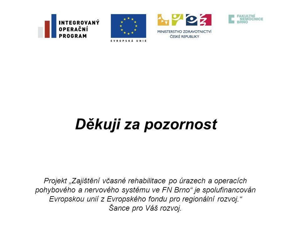 """Děkuji za pozornost Projekt """"Zajištění včasné rehabilitace po úrazech a operacích pohybového a nervového systému ve FN Brno"""" je spolufinancován Evrops"""