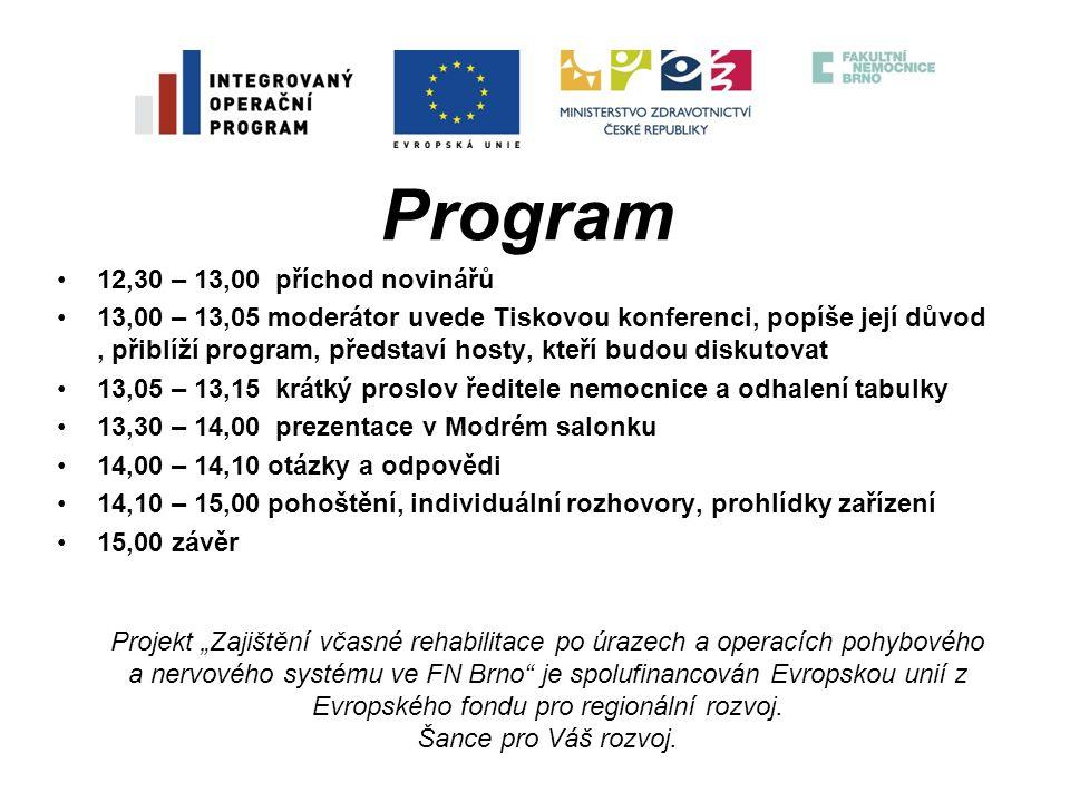 """Děkuji za pozornost Projekt """"Zajištění včasné rehabilitace po úrazech a operacích pohybového a nervového systému ve FN Brno je spolufinancován Evropskou unií z Evropského fondu pro regionální rozvoj. Šance pro Váš rozvoj."""