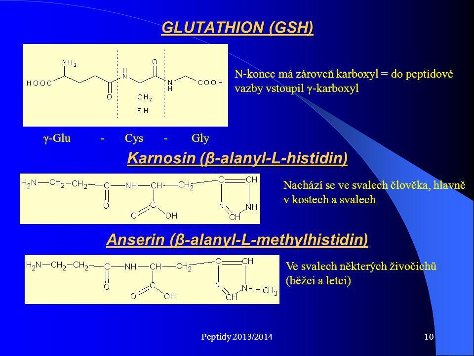 Peptidy 2013/201410 GLUTATHION (GSH) N-konec má zároveň karboxyl = do peptidové vazby vstoupil γ-karboxyl γ-Glu - Cys - Gly Karnosin (β-alanyl-L-histi