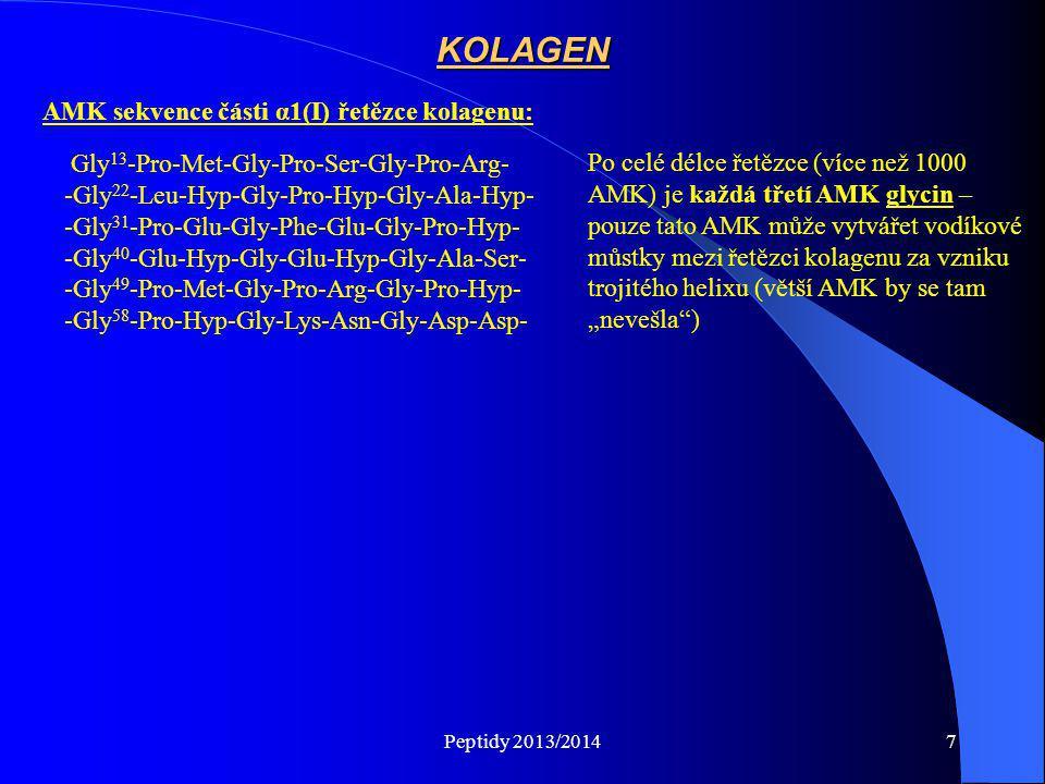 Peptidy 2013/20147 Gly 13 -Pro-Met-Gly-Pro-Ser-Gly-Pro-Arg- -Gly 22 -Leu-Hyp-Gly-Pro-Hyp-Gly-Ala-Hyp- -Gly 31 -Pro-Glu-Gly-Phe-Glu-Gly-Pro-Hyp- -Gly 4